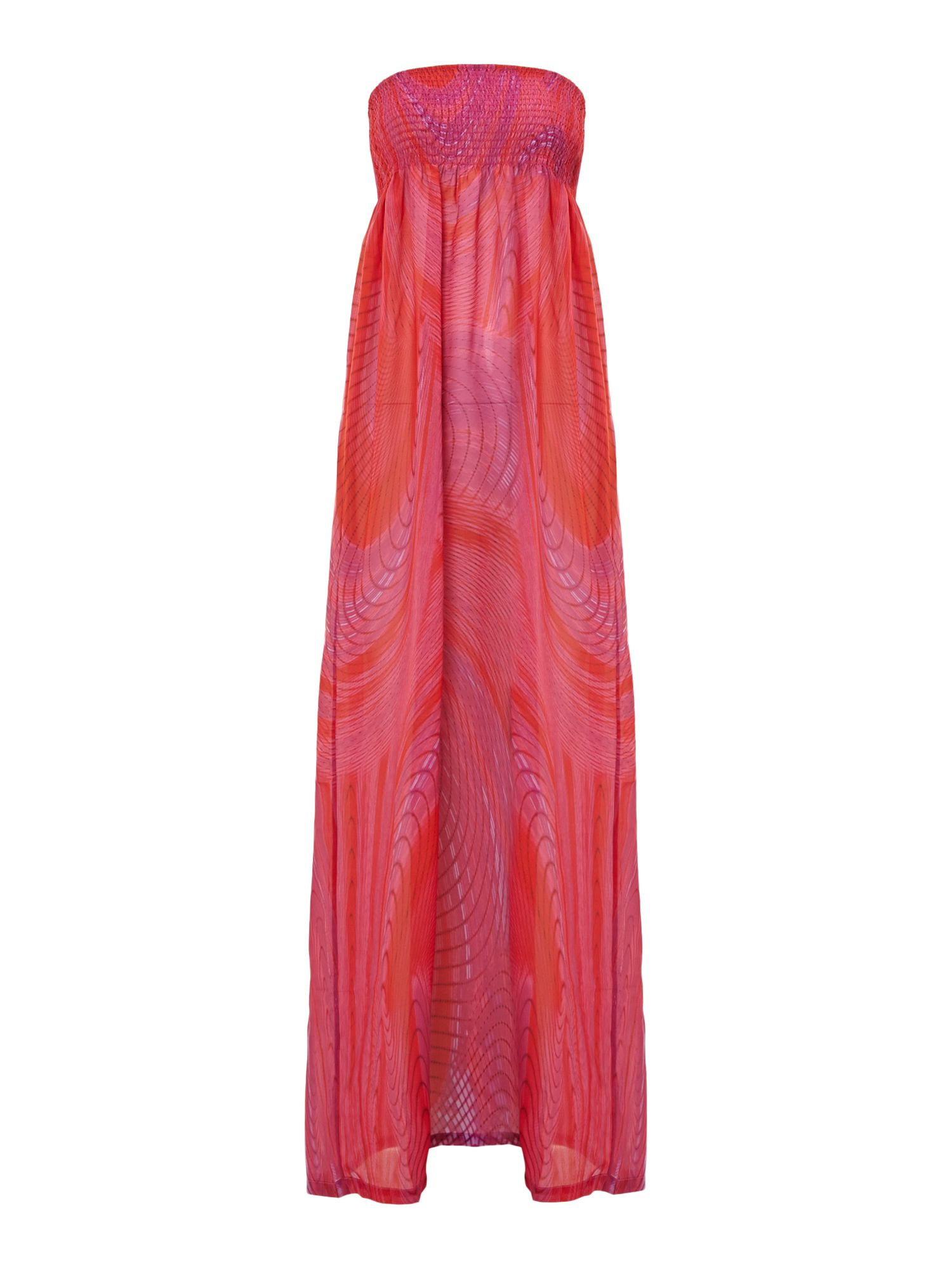 Over wrap bandeau maxi dress