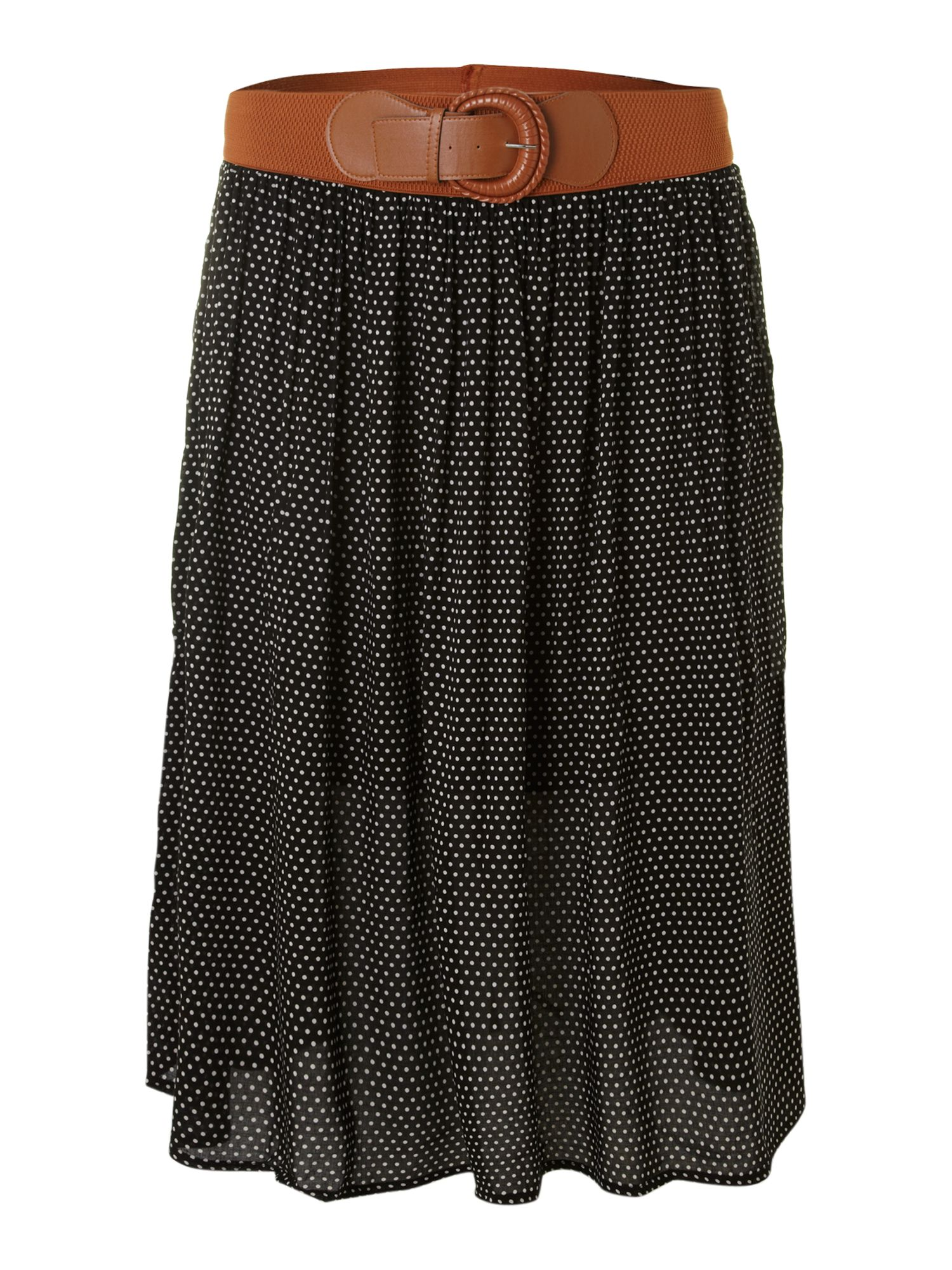 Polka dot flared midi skirt
