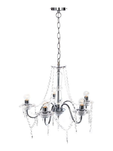 Linea Clarence 5 light chandelier chrome