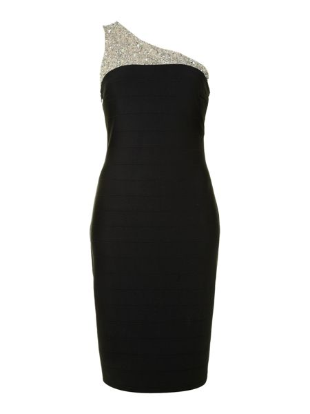 JS Collections Beaded One Shoulder Cocktail Dress