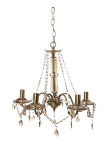 Clarence 5 light chandelier antique brass