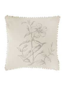 Grey oversized floral print cushion