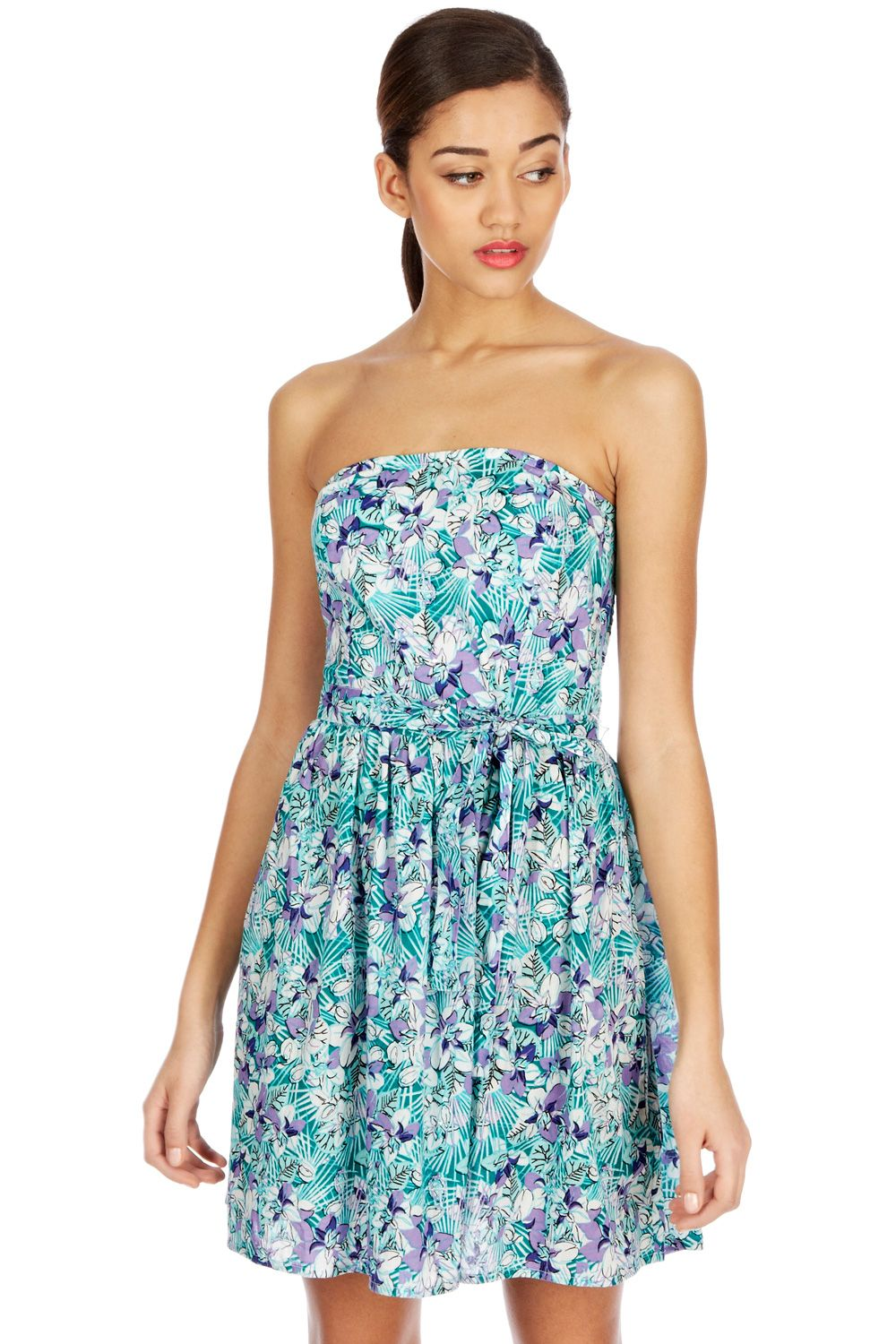 Fern print fit and flare sundress