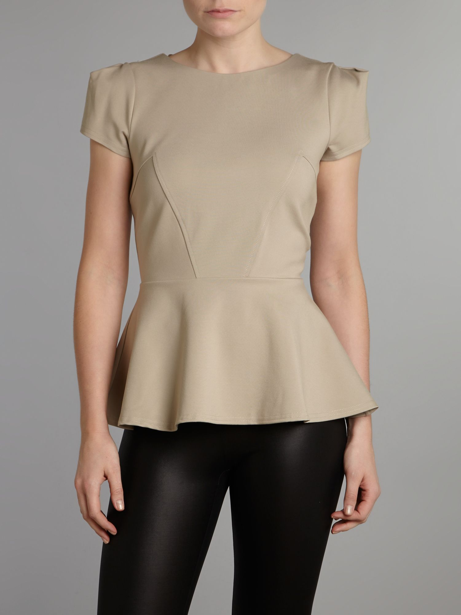 Seam detail peplum ponti top