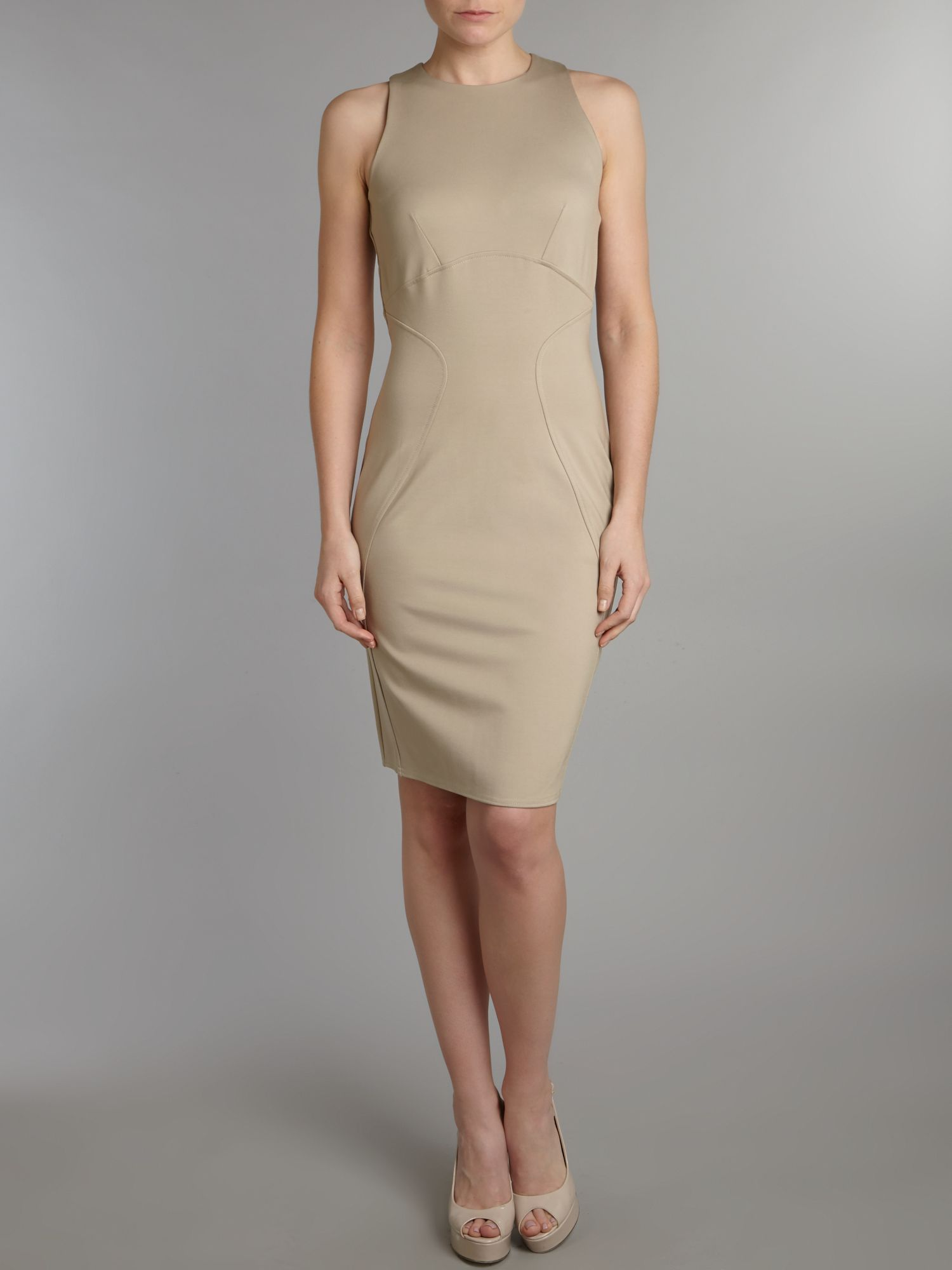 Curve seam ponti bodycon dress