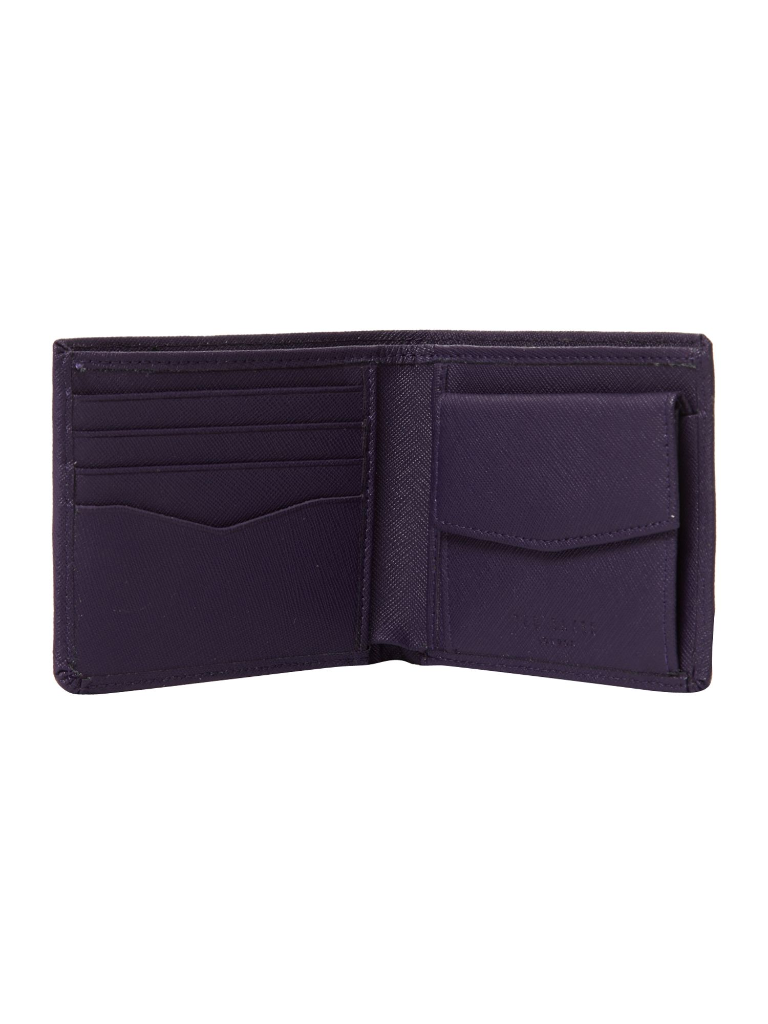 Cross grain bifold coin wallet