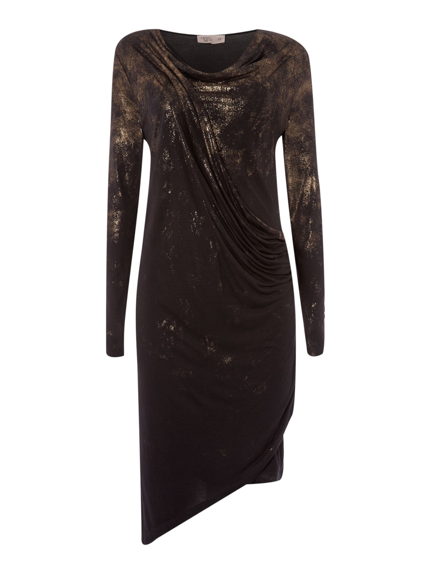 Distressed foil print dress