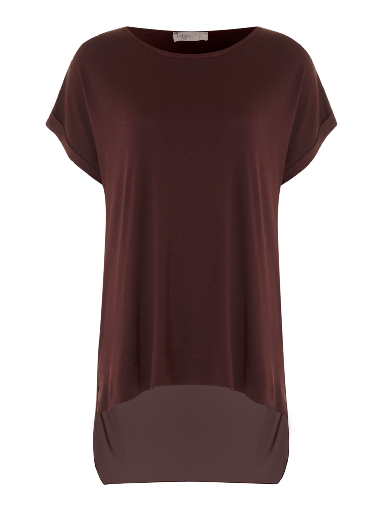 Layered back chiffon jersey mix tee