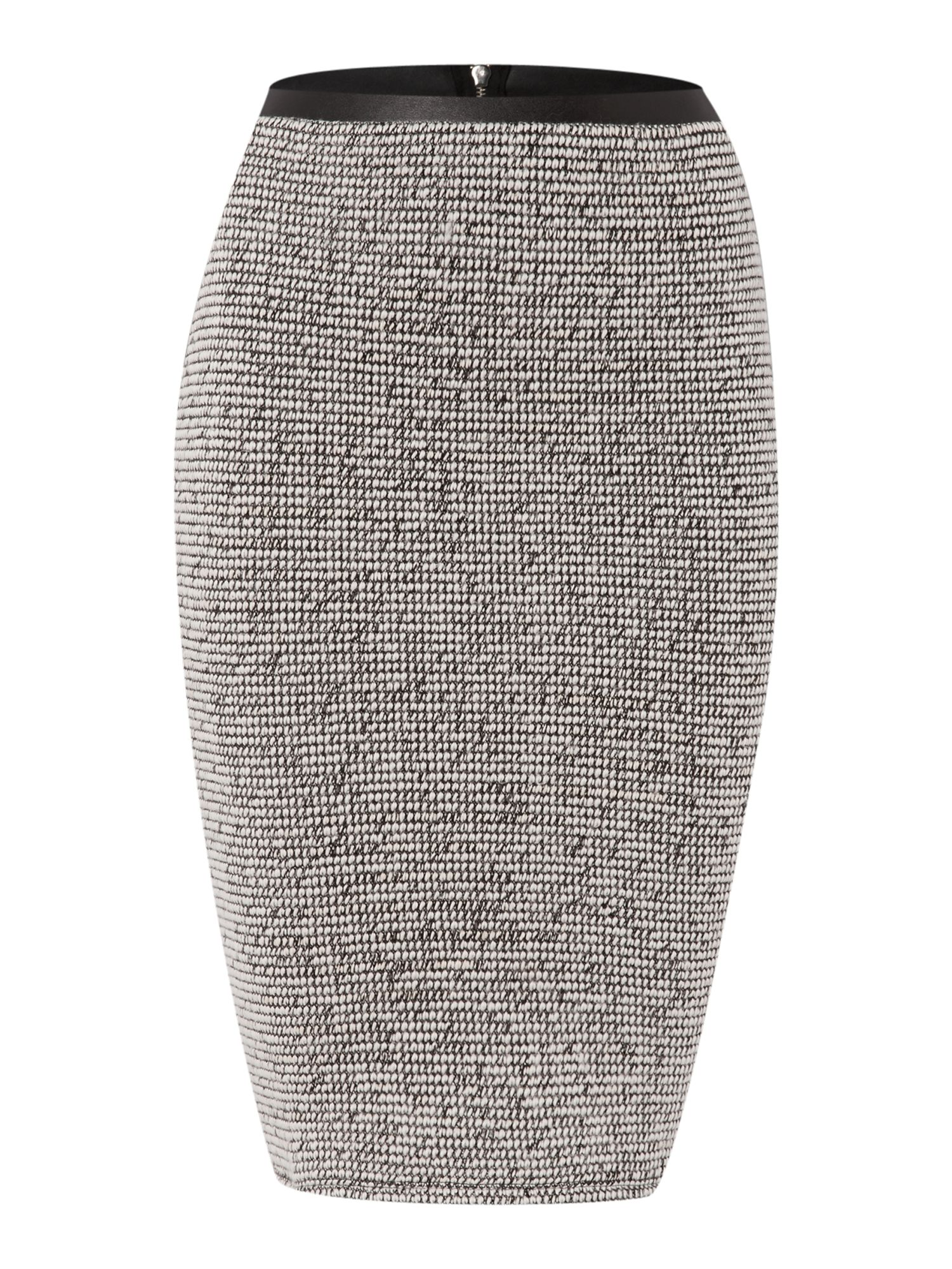 Boucle PU trim textured pencil skirt