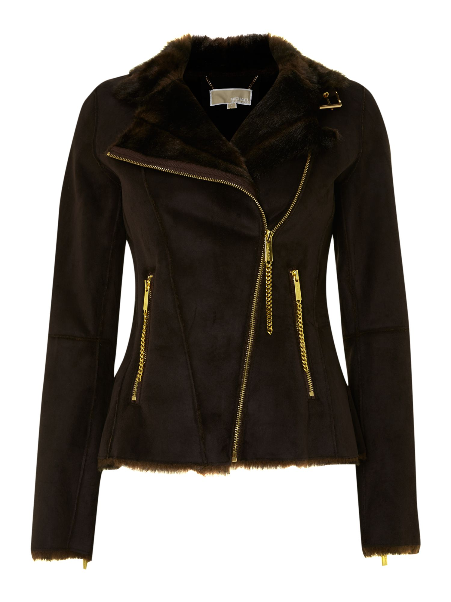 Zip up shearling jacket