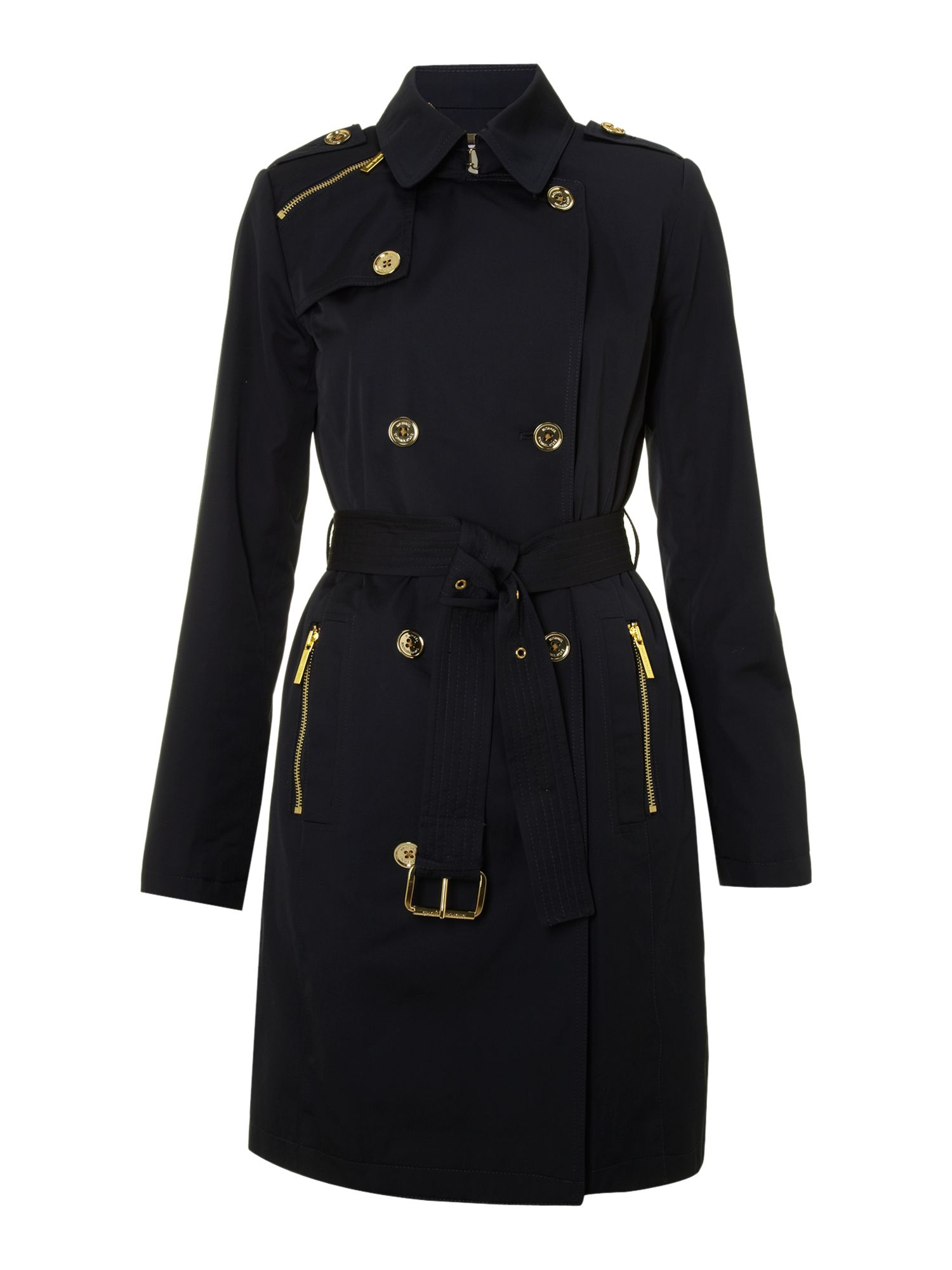 Long sleeve belted trench coat