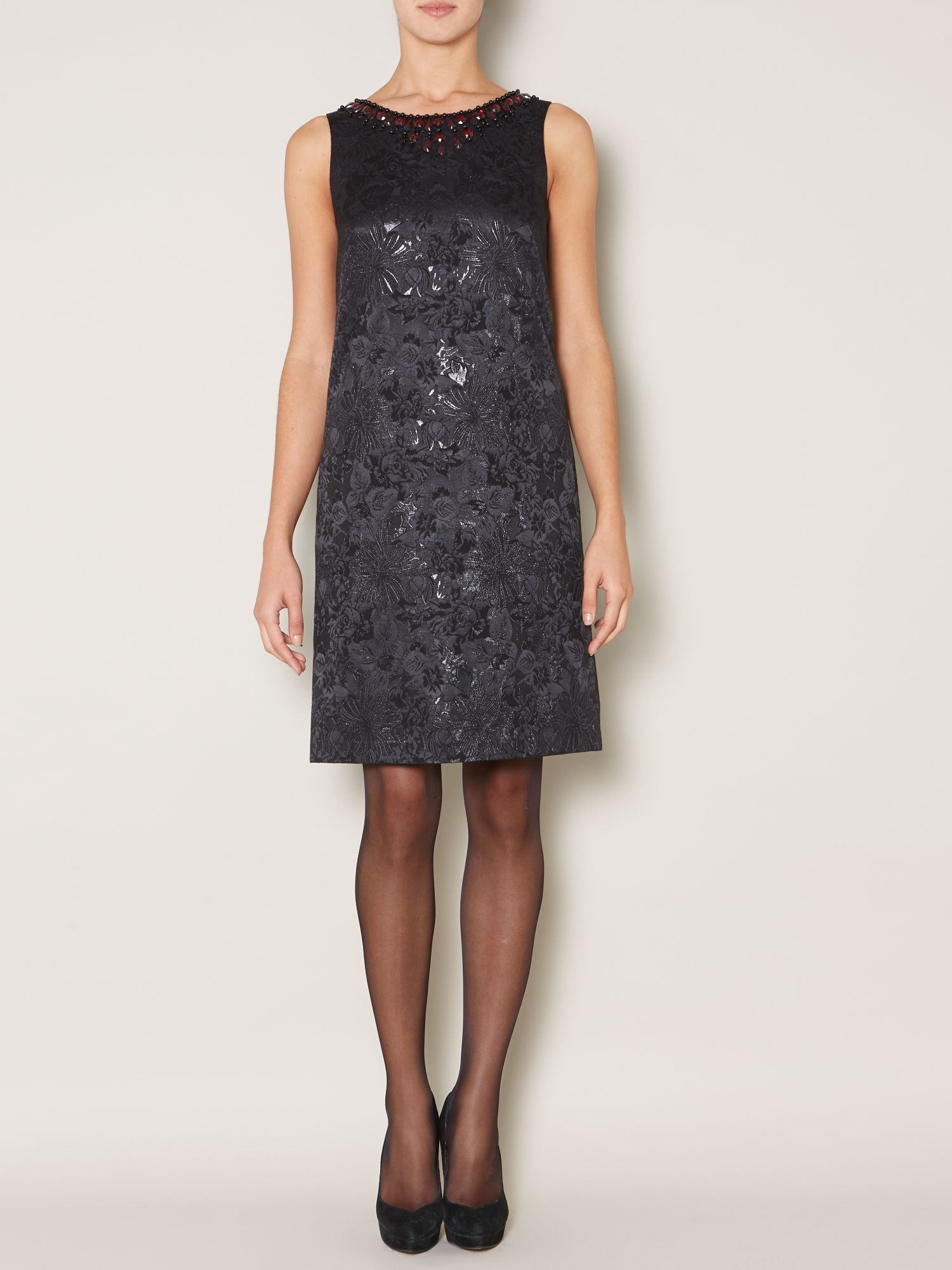Jewel neck detail jacquard dress