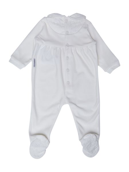 Armani Junior Girl`s velour all-in-one with lace collar
