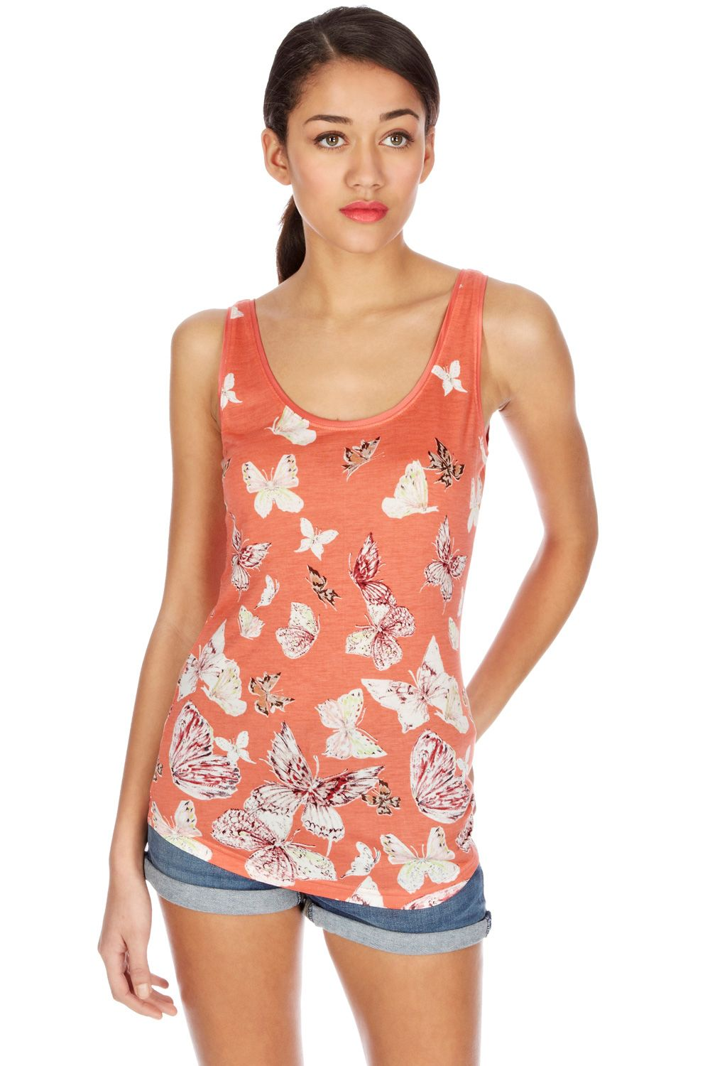 Satin trim sketch butterfly print vest
