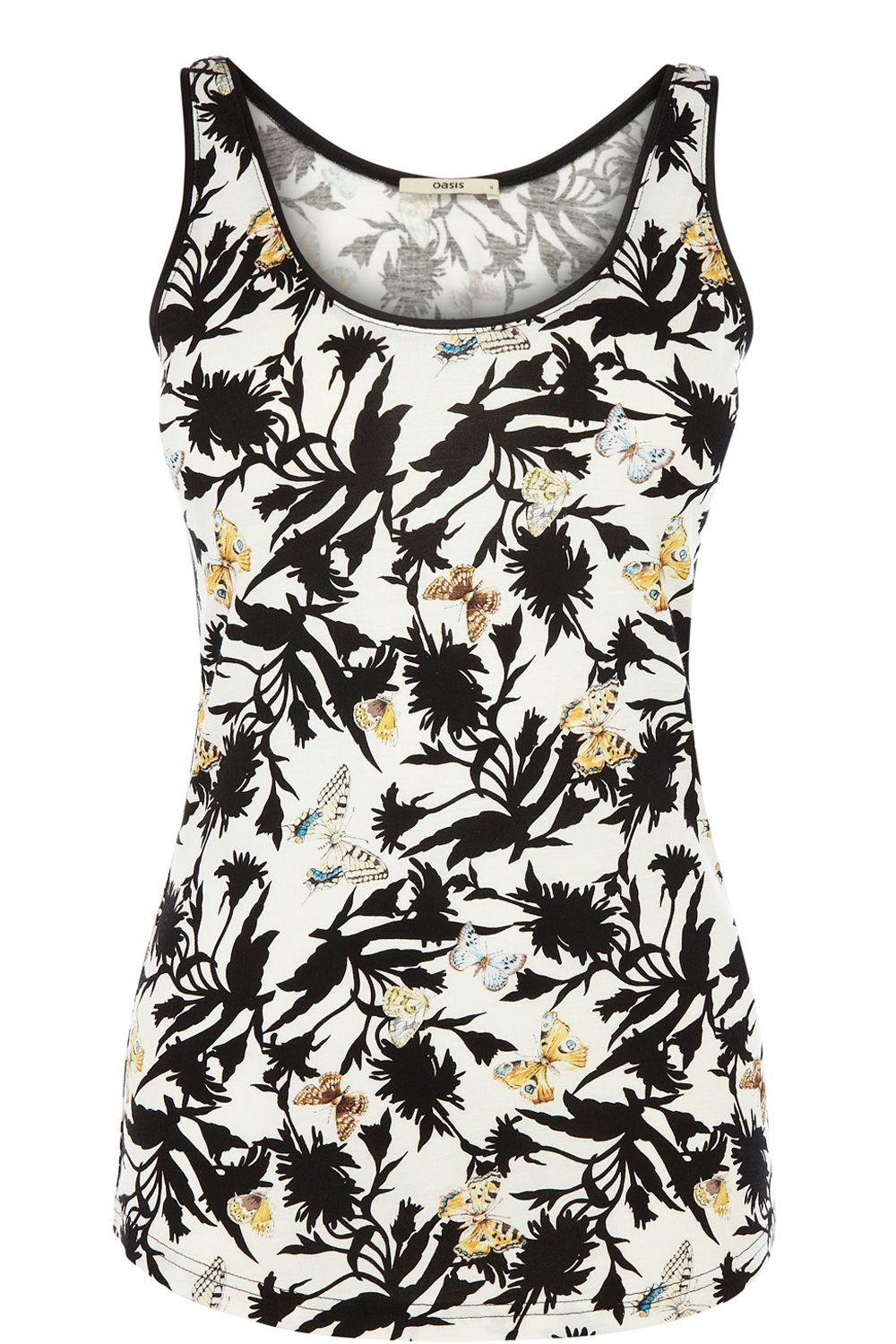 Satin trim shadow butterfly print vest