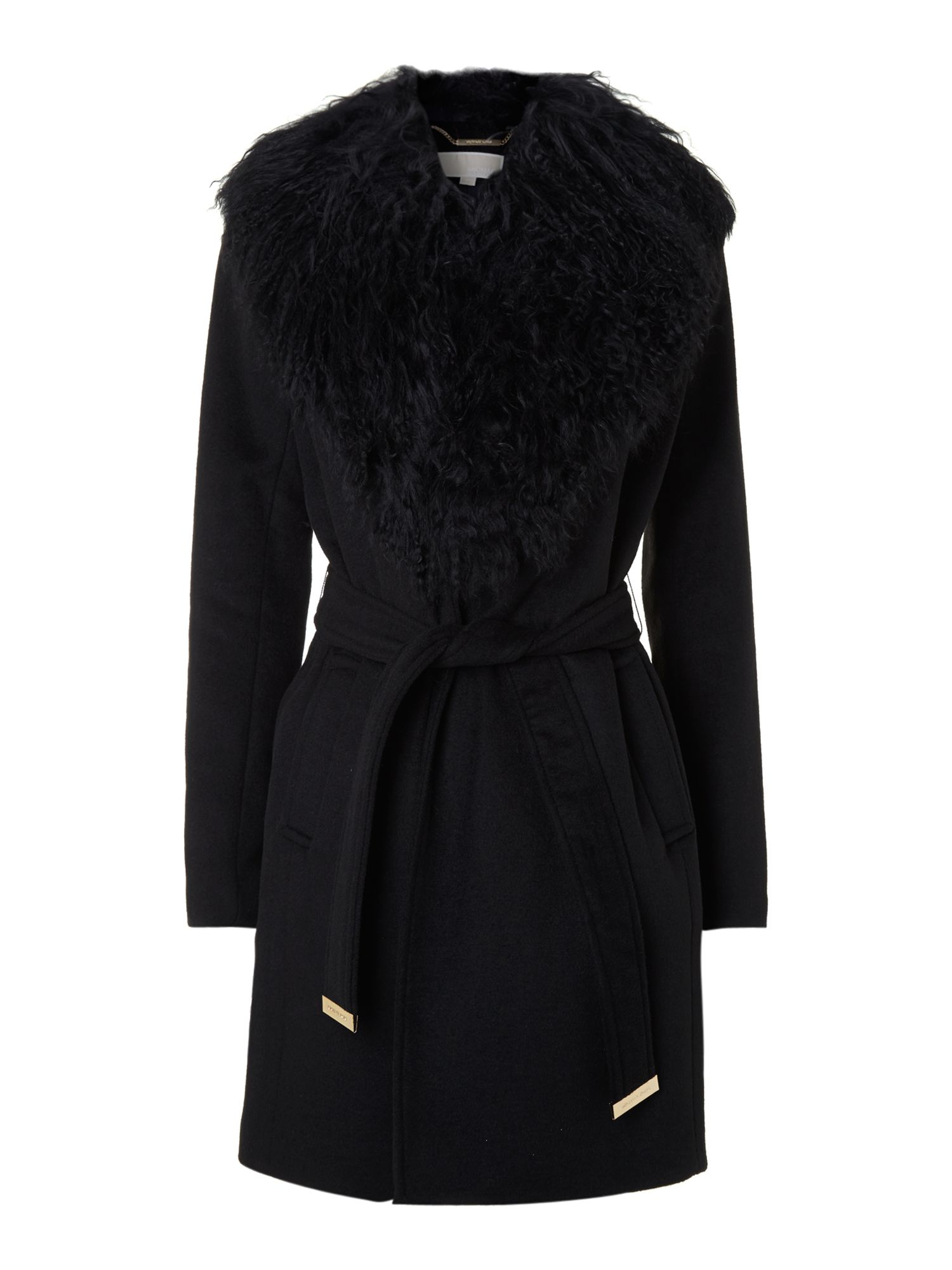 Michael Michael Kors Long sleeve belted coat, Black