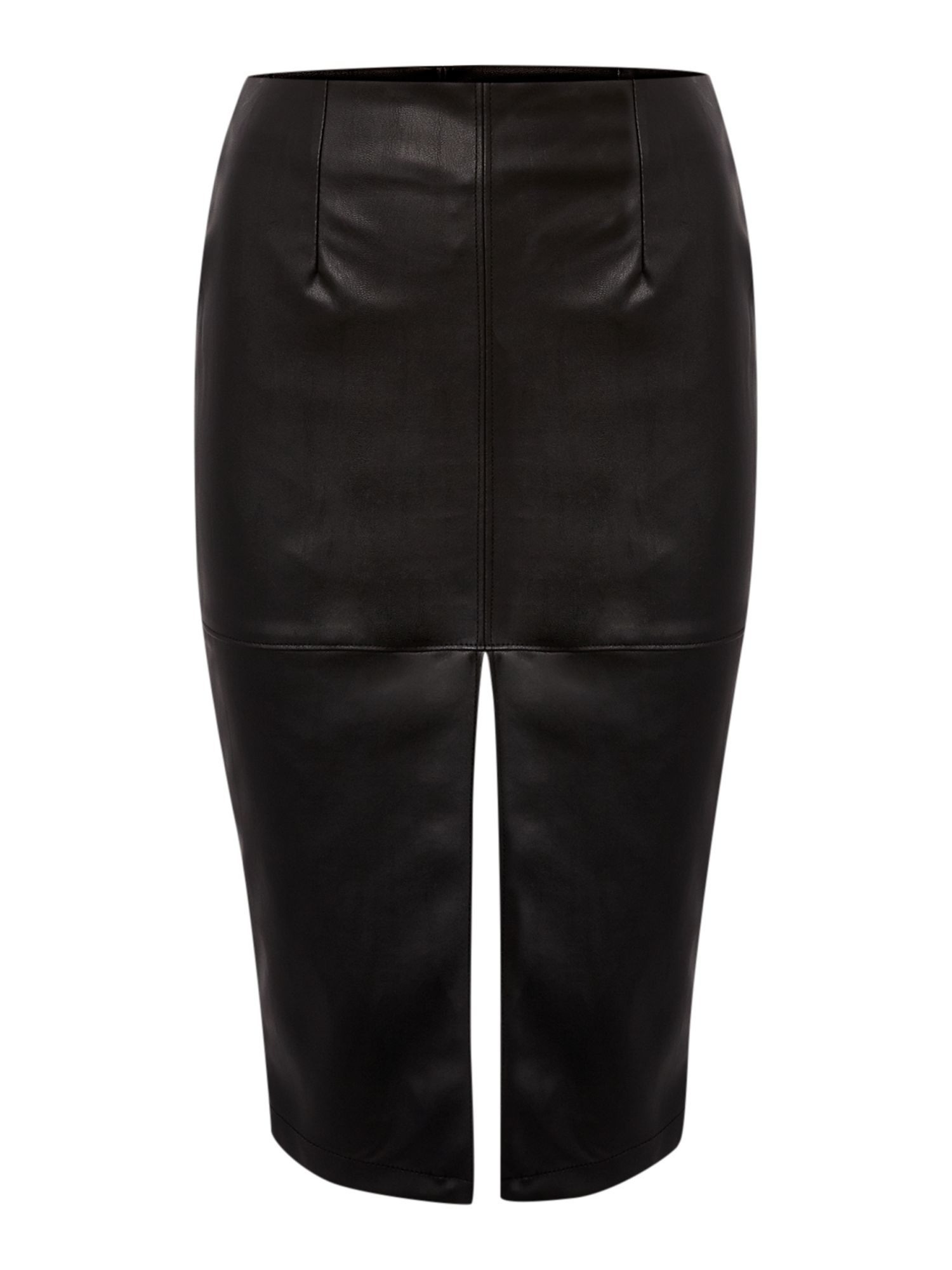 Faux leather split pencil skirt
