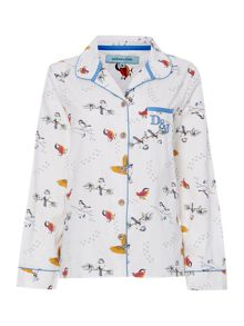 Betty bird print pj top