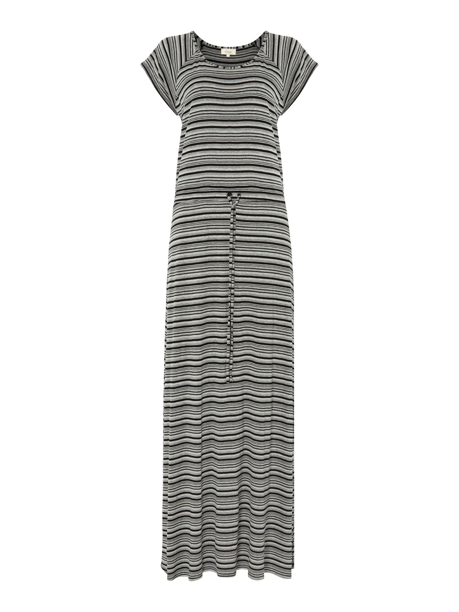 Ladies tie waist stripe maxi dress
