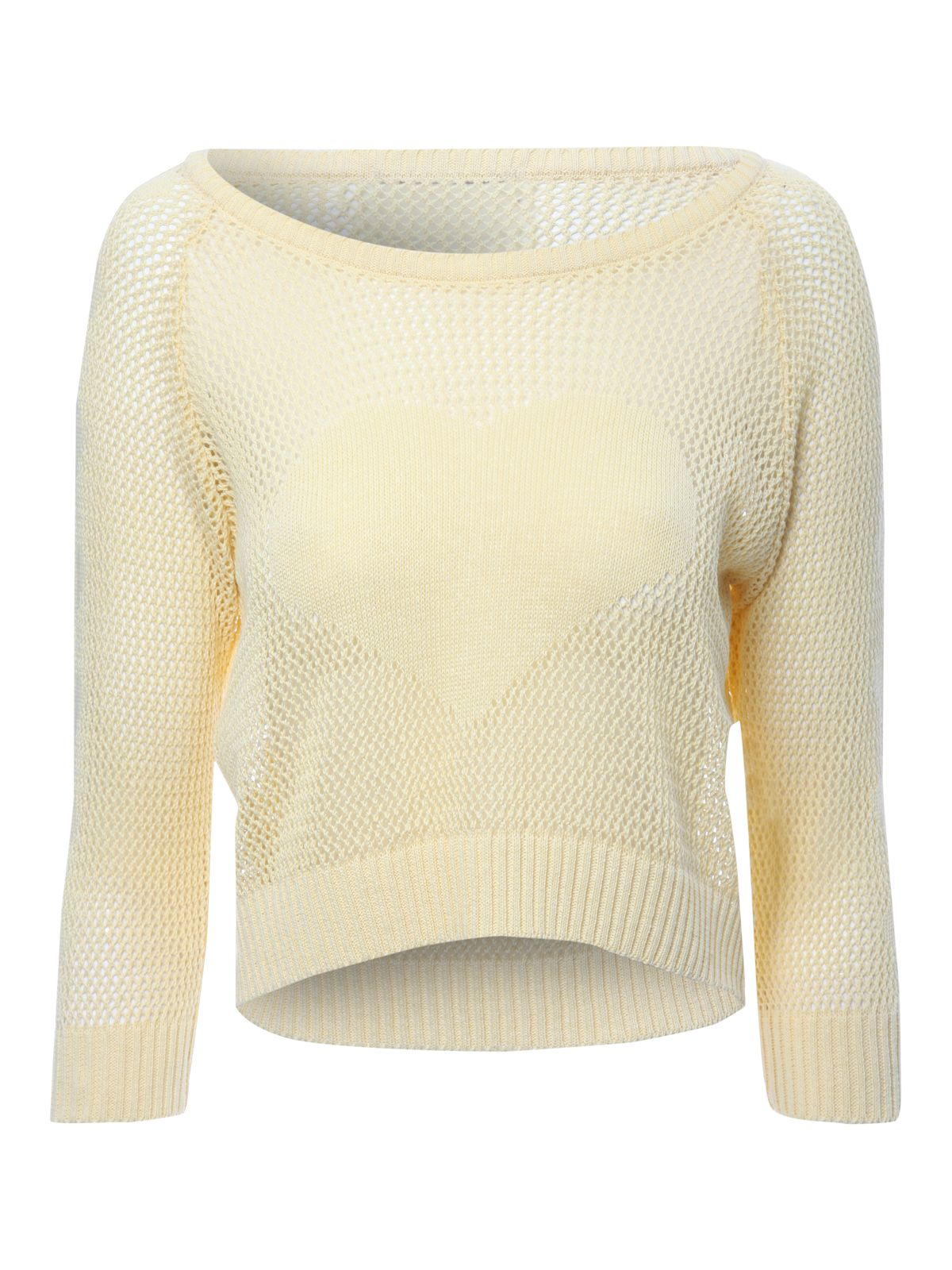 Cropped mesh heart jumper
