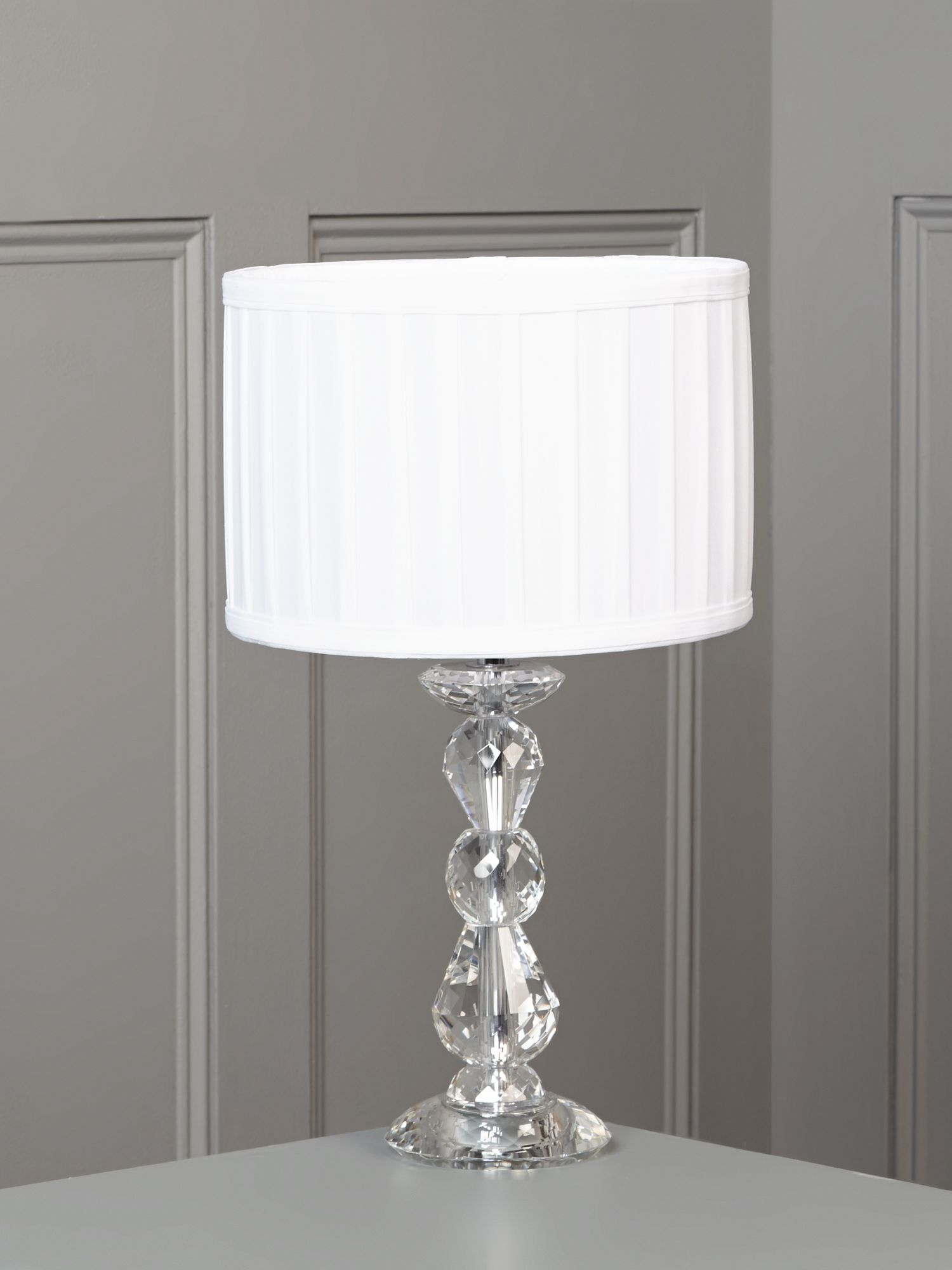 Clarence crystal table lamp - white