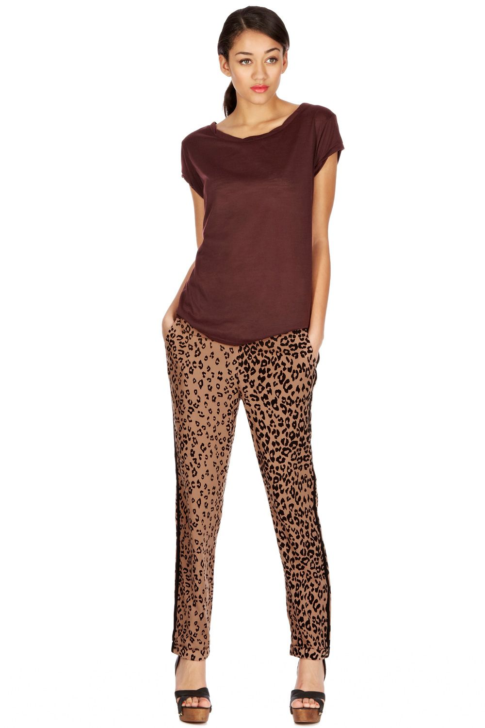 Leopard placement trouser