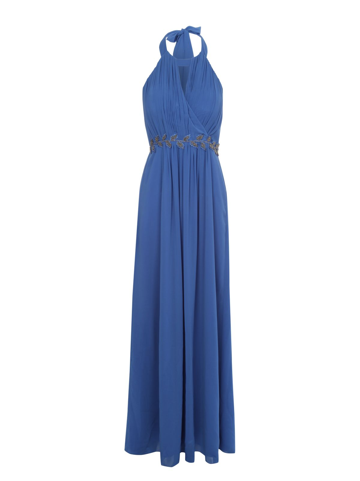 Embellished waist halter maxi dress