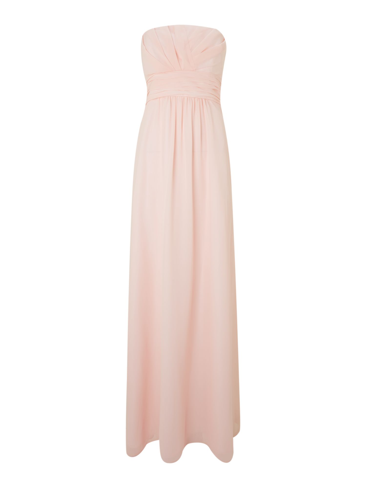 Ruched bodice strapless long dress