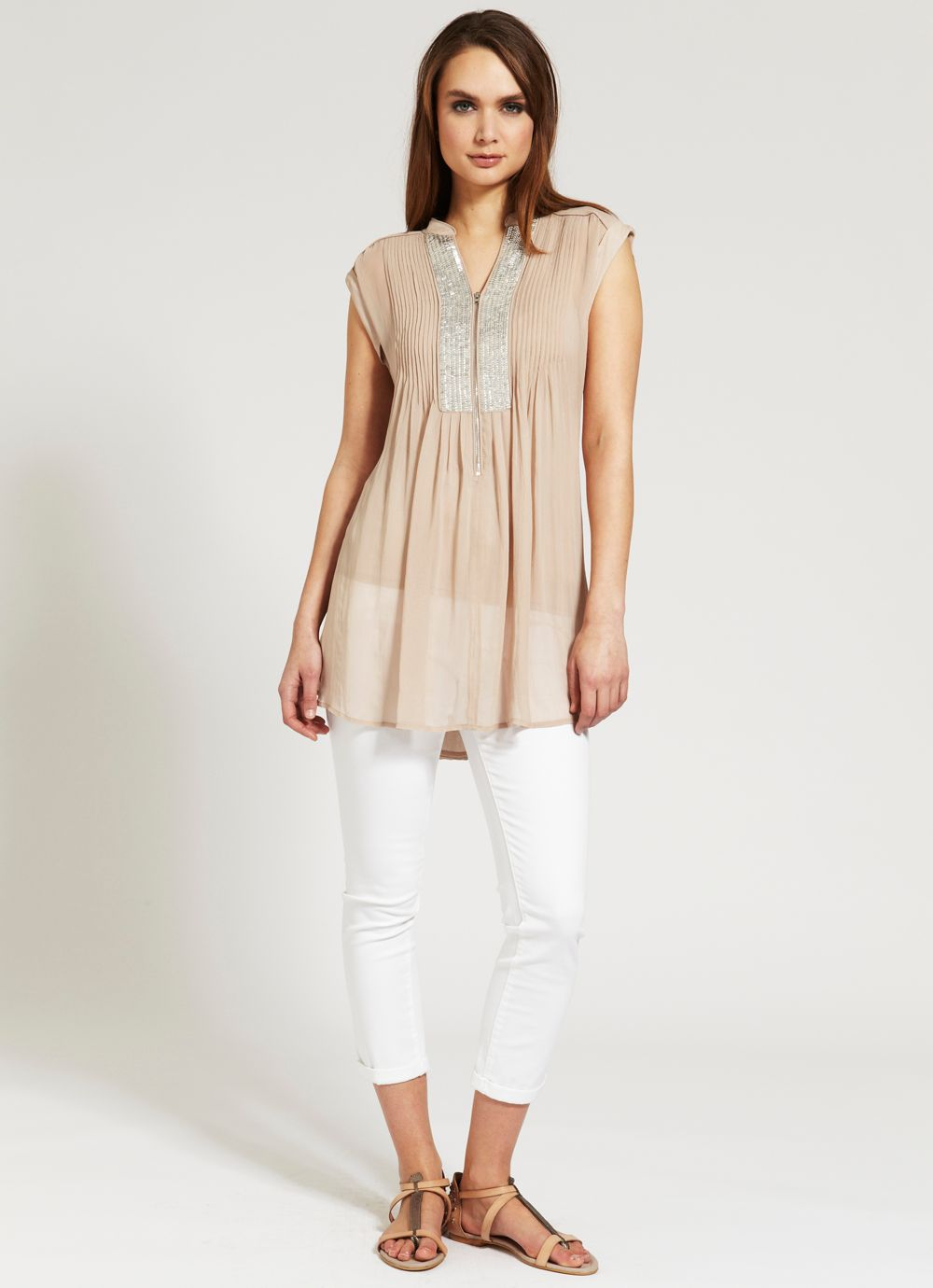 Honey sequin yoke tunic