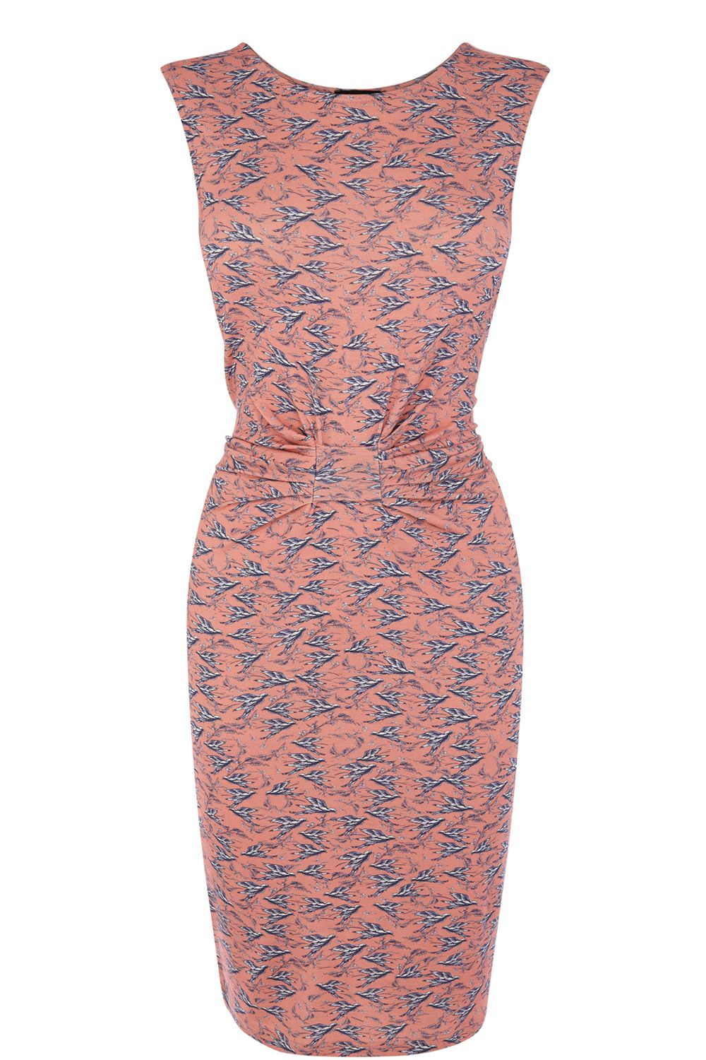 Sleeveless bird print dress
