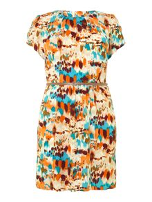 Watercolour print belted dress