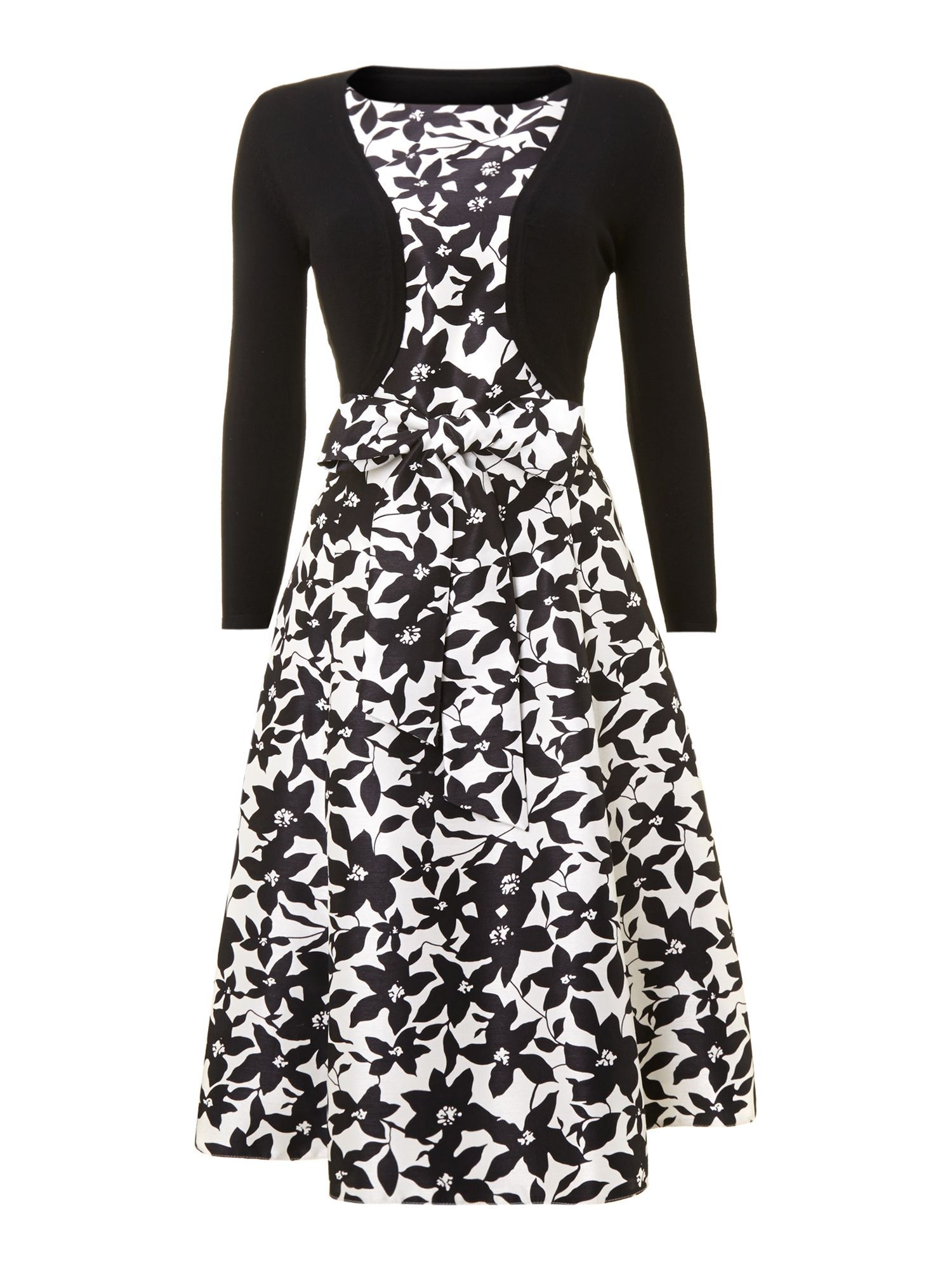 Ladies floral tie waist occasion dress with shrug