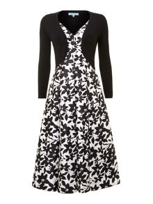 Ladies floral v neck occasion dress with shrug