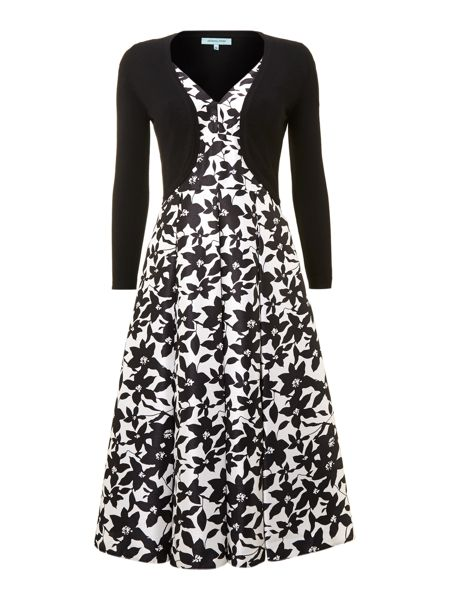 Dickins & Jones Ladies floral v neck occasion dress with shrug