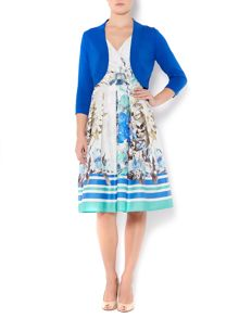 Ladies floral stripe occasion dress with shrug