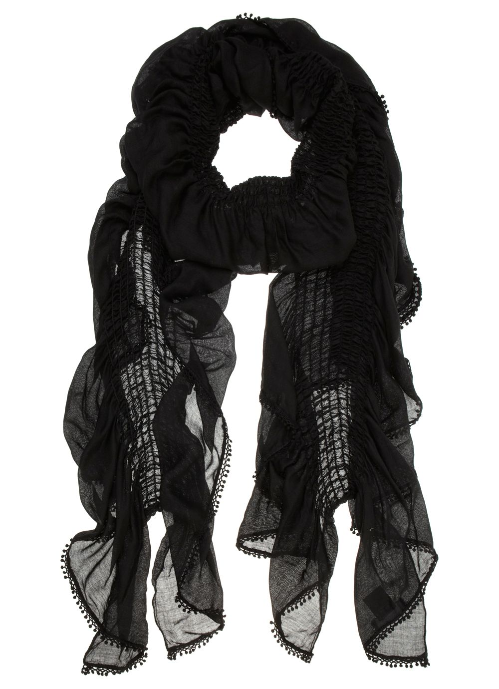 Black ruched lace trim scarf