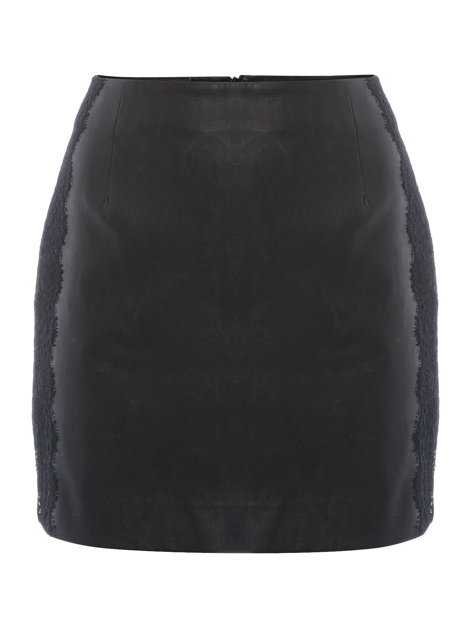 Dani PU lace panel skirt