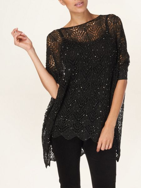 Phase Eight Hattie hanky hem sequin knit jumper