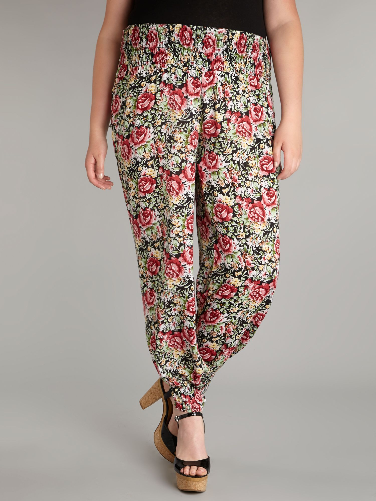 Rose print harem trousers