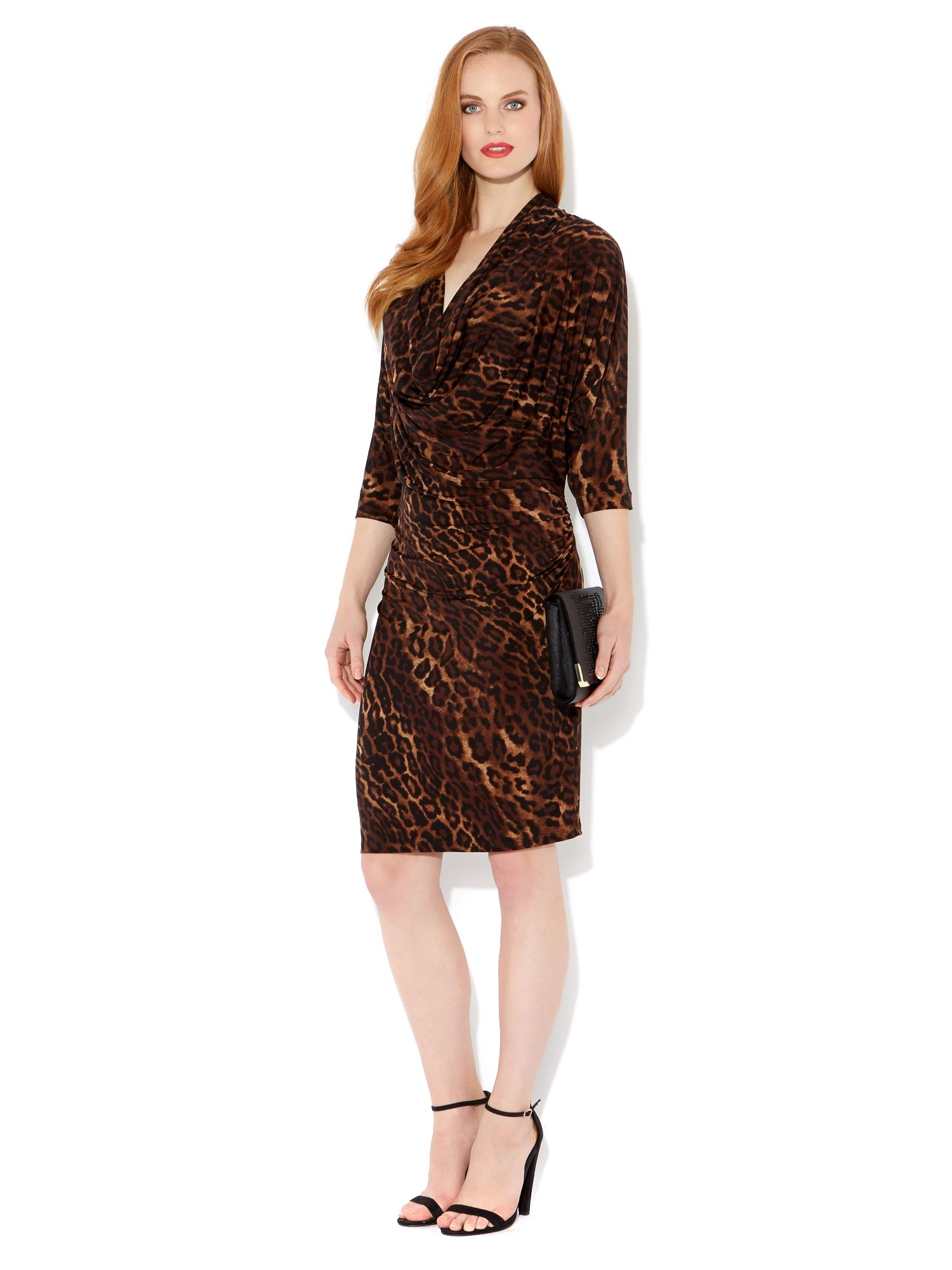 Leopard printed cowl jersey dress