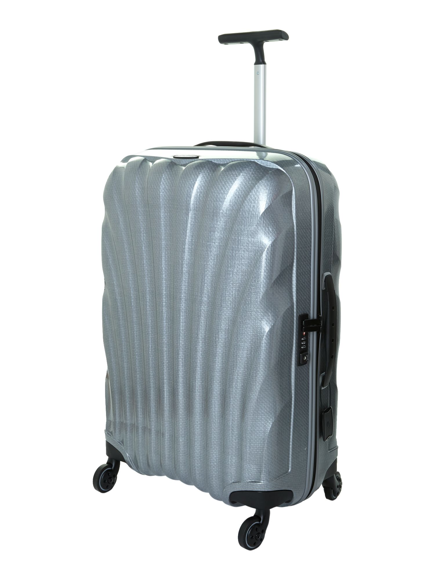 New cosmolite 4-wheel silver medium suitcase