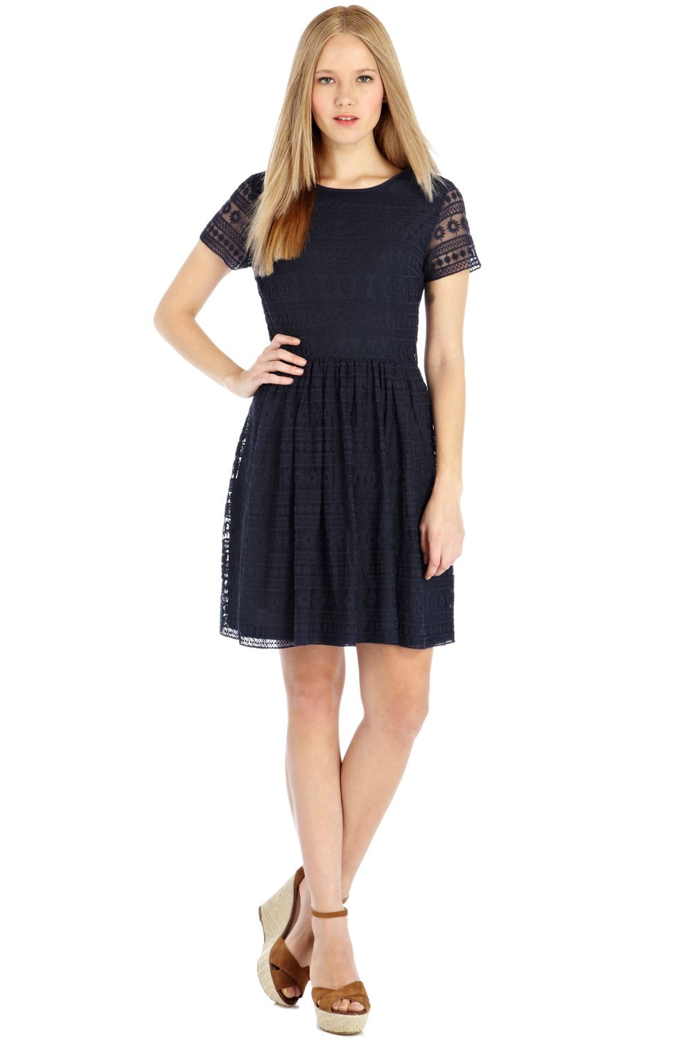 Daisy lace skater dress