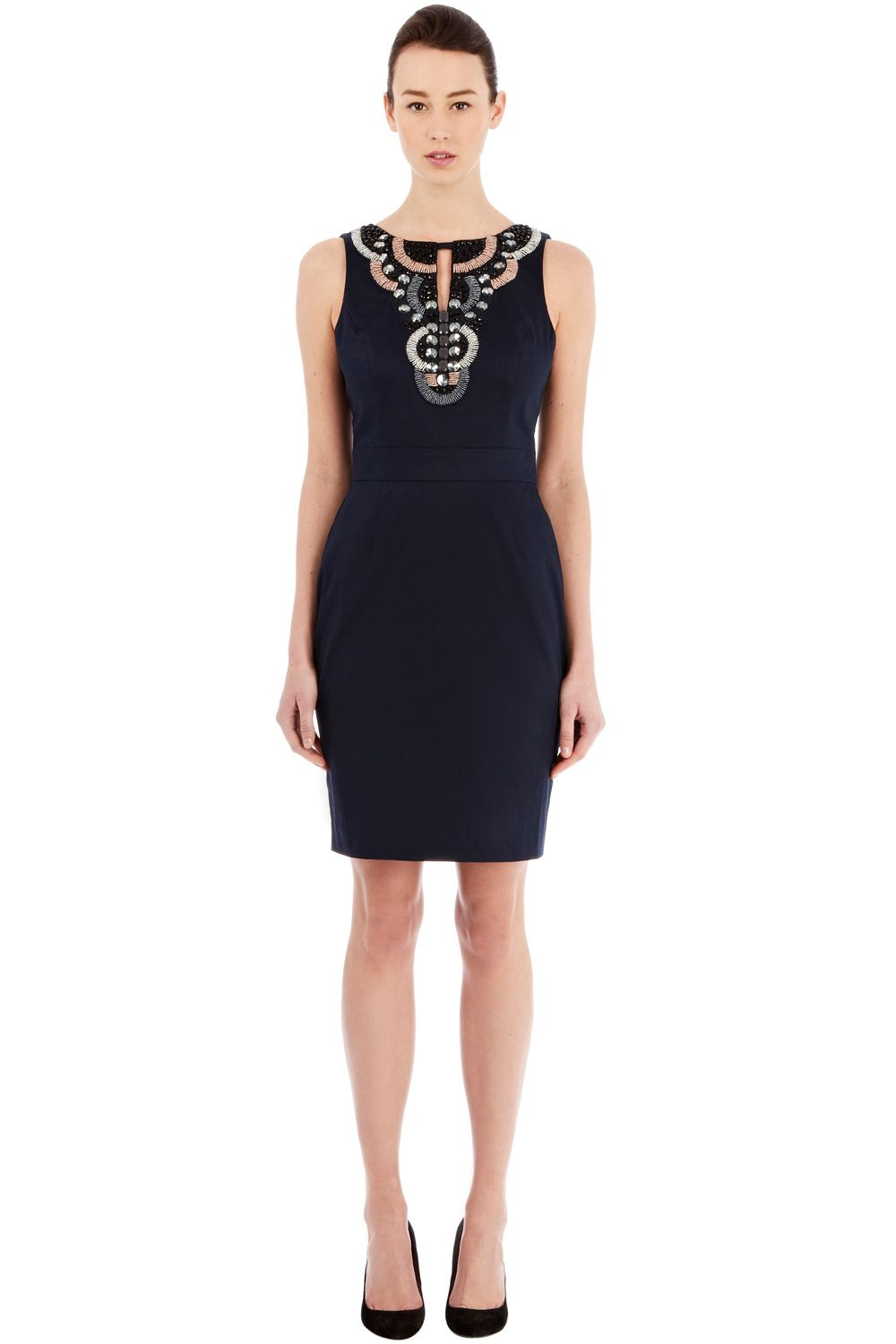 Embellished yoke shift dress