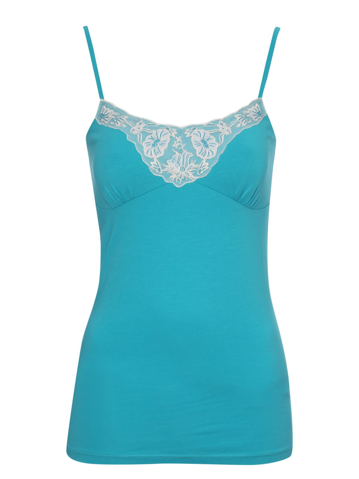 Jane Norman Embroidered trim cami vest top, Teal