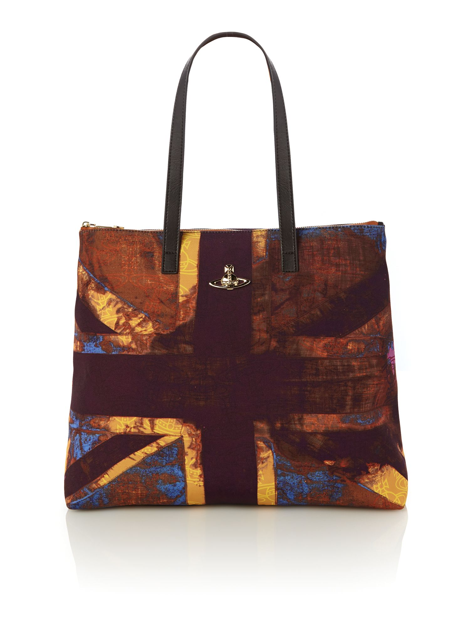 Purple print large tote bag