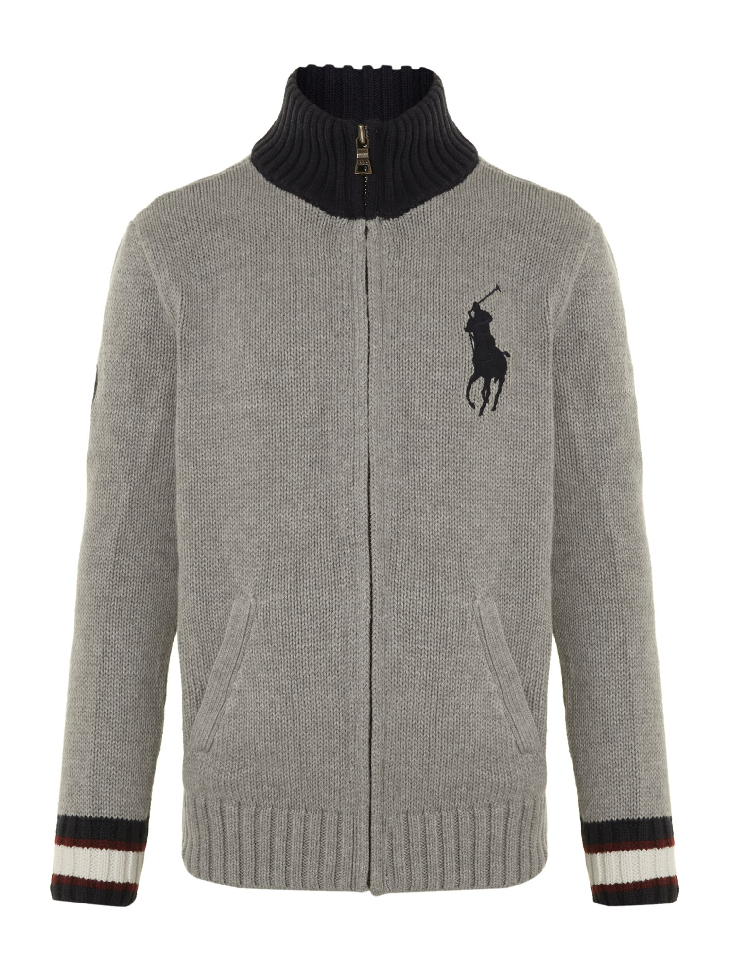 Boy`s zip-through large pony logo cardigan