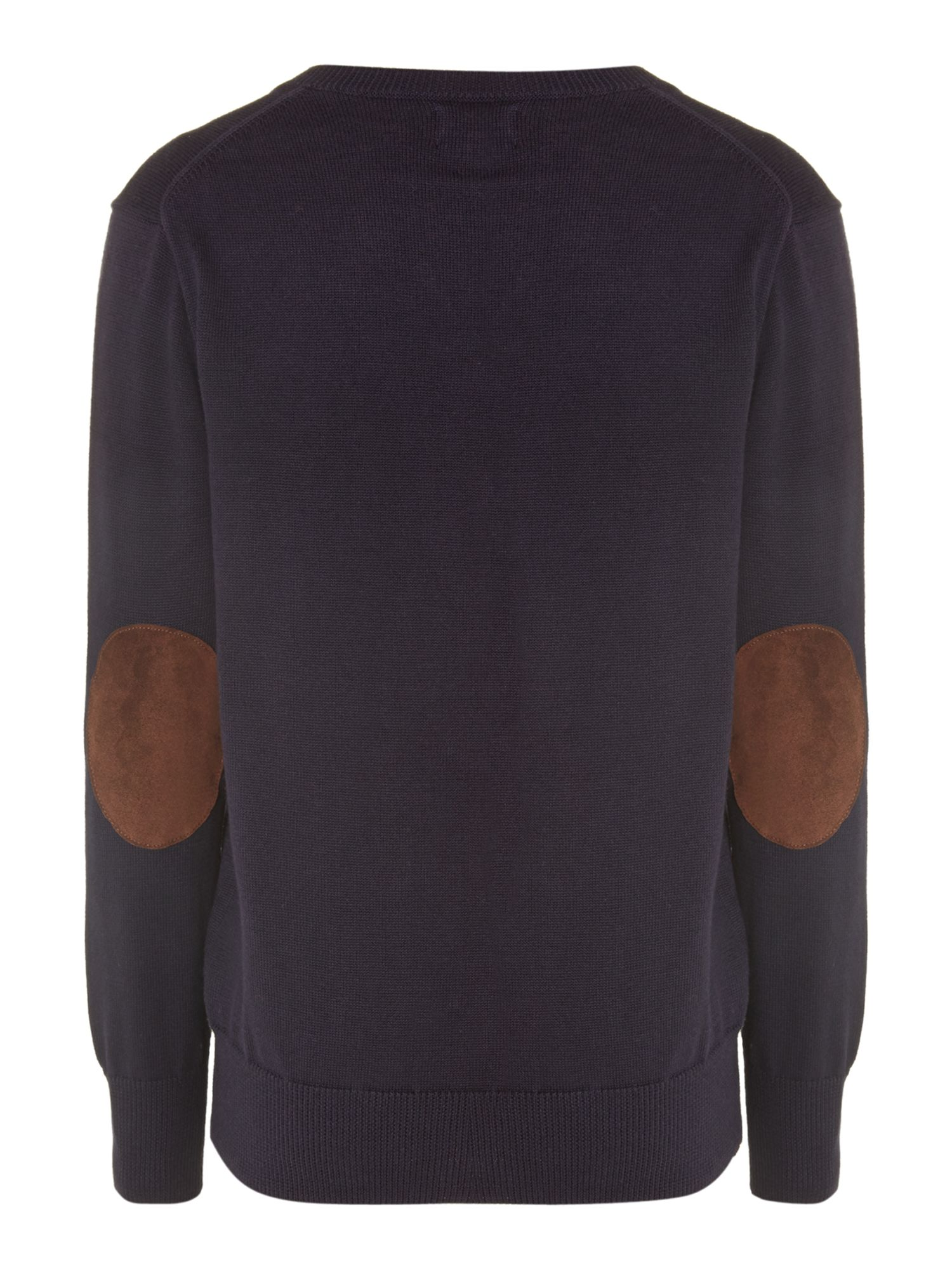 Boy`s v-neck jumper with elbow patches