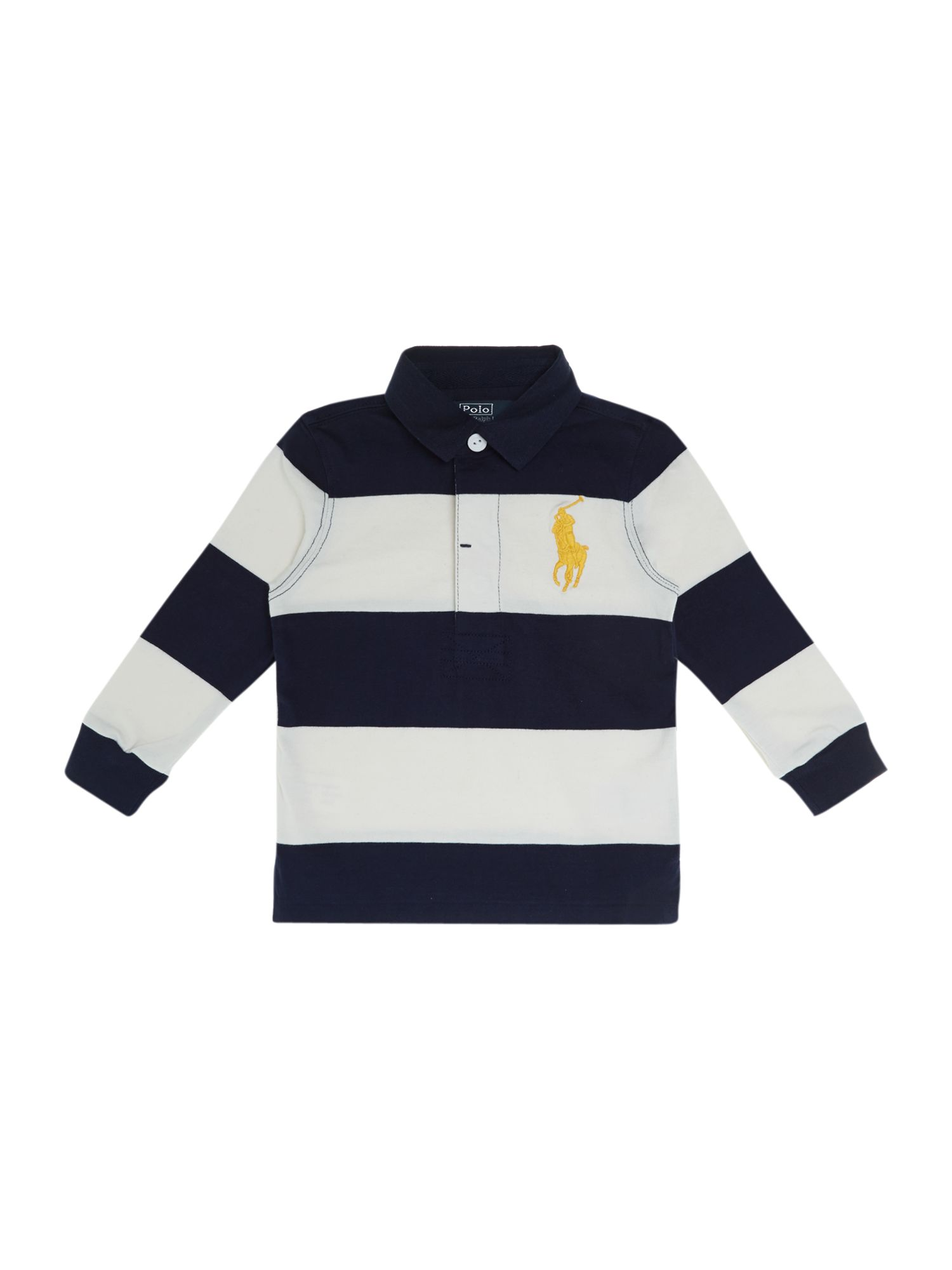 Boy`s wide stripe large pony logo rugby shirt