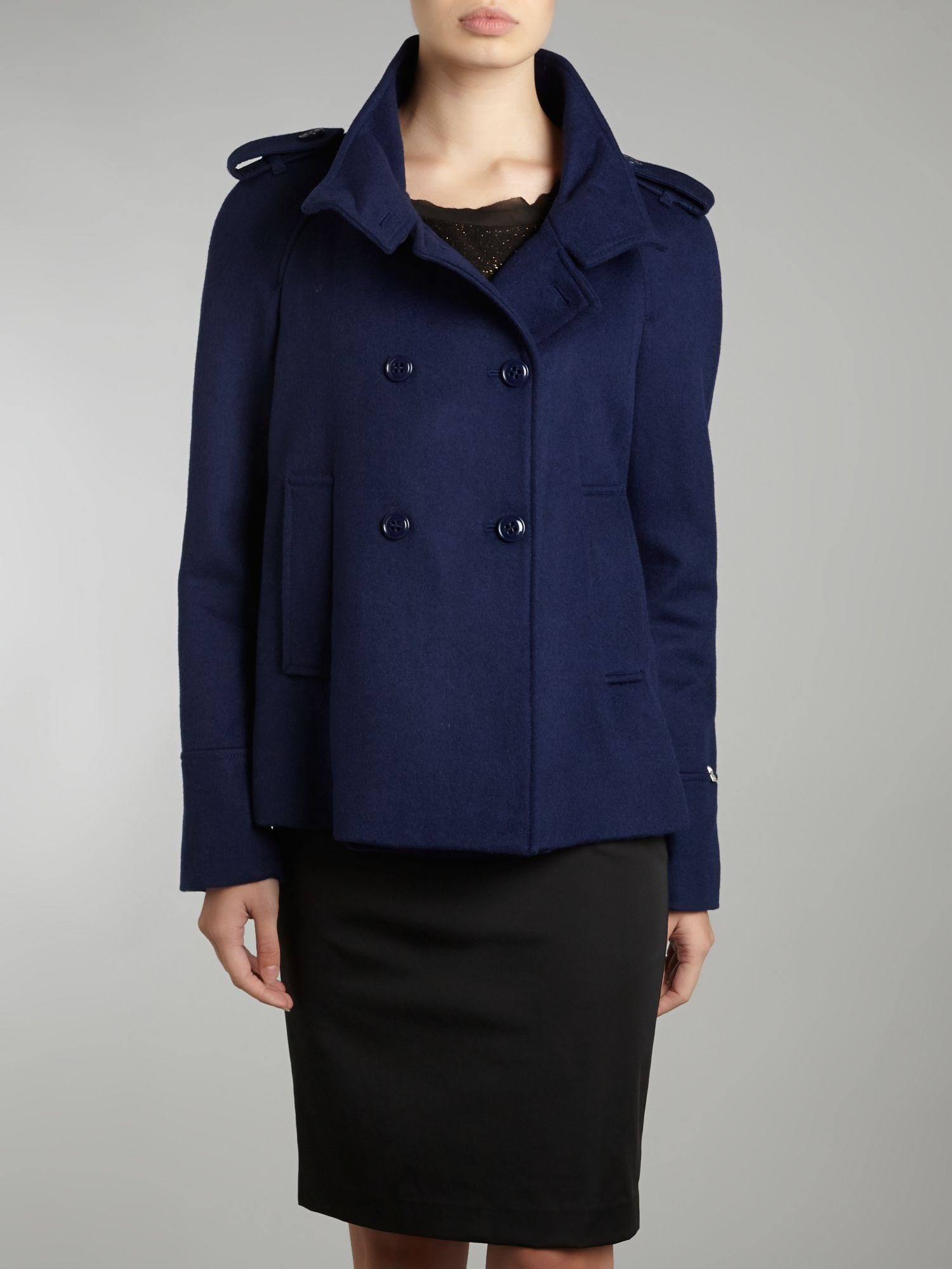Button front wool peacoat