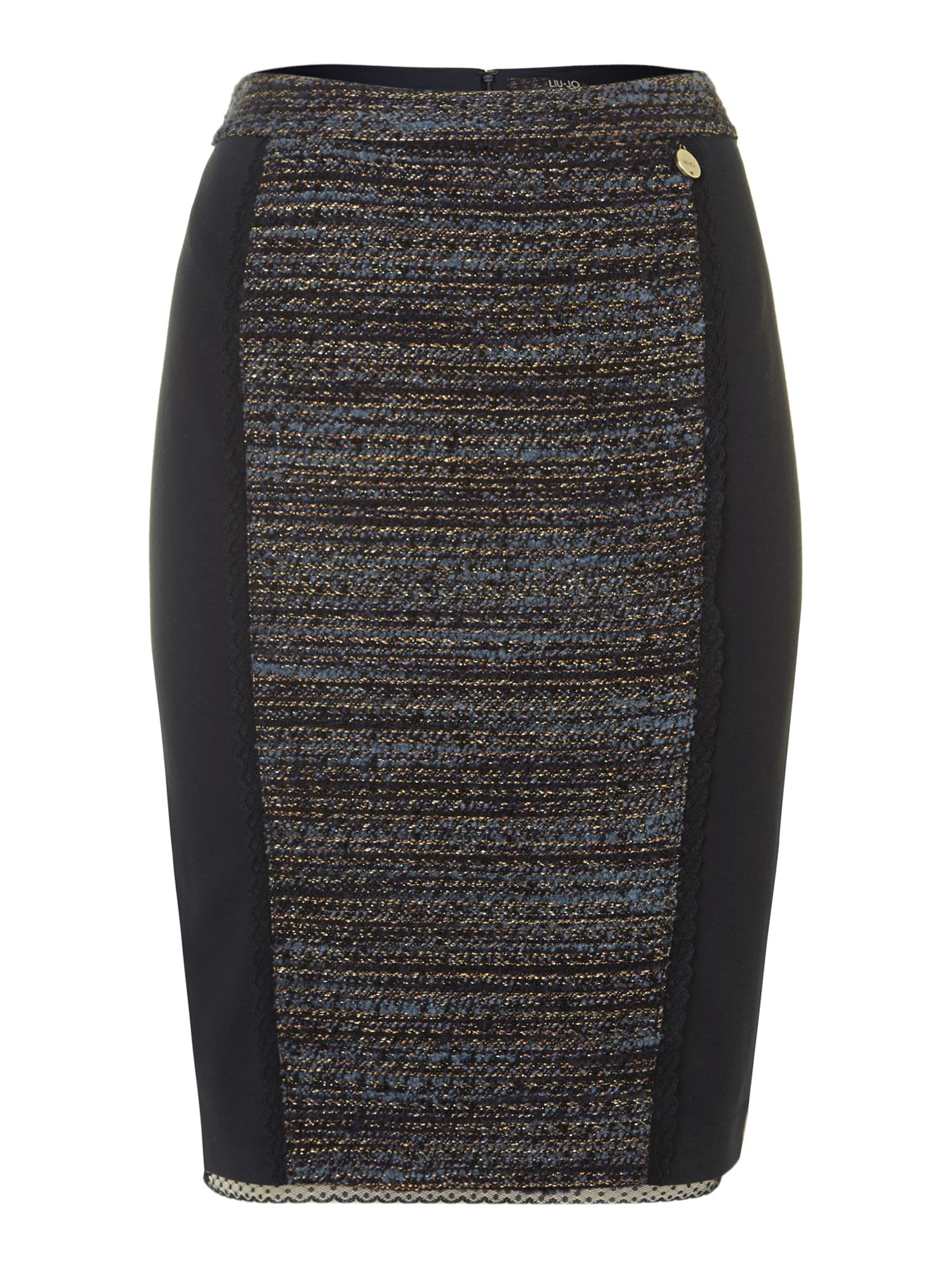 Tweed panel pencil skirt with lace trim